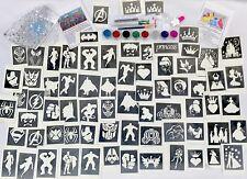 GLITTER TATTOO KIT PRINCESS SUPERHERO boy girl 90 large stencils 8 glitters glue