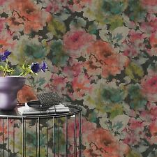 FLORENTINE FLORAL FABRIC EFFECT WALLPAPER PINK / CORAL / BLACK - RASCH 455663
