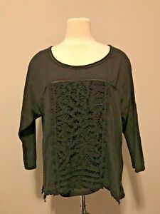 Meadow Rue Anthropologie Black 3/4 Sleeve Tunic Shirt W/Lace Front, Size Large