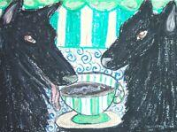 BELGIAN SHEEPDOG Drinking Coffee Dog Pop Art Print 8x10 Signed by Artist KSAMS