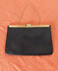 Vintage Etra Black Leather Clutch Bag With Chain