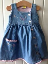 Baby Girl's Clothes 0-3 Months - Cute Denim Pink Check Button Fasten Dress