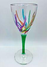 GLASSWARE - VENETIAN CARNEVALE CORDIAL GLASS - GREEN - HAND PAINTED CRYSTAL