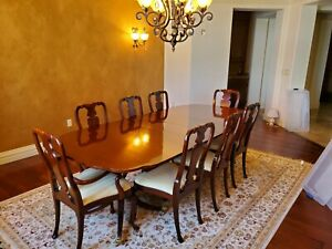 Kindel Dining Room Table Set, Solid Mahogany, Excellent Condition & Value