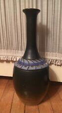 signed C. Williams 2007 earthenware vase blue brown long neck pottery 15.5""