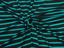Black Teal Stretchy Jersey Knit Stripe Fabric by Yard Viscose Spandex 4/18/18