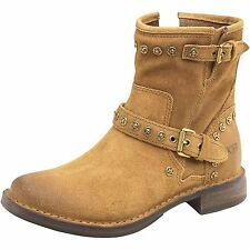 UGG FABRIZIA STUDS CHESTNUT BROWN SUEDE US 10 MOTO BOOTS SHOES NEW NIB