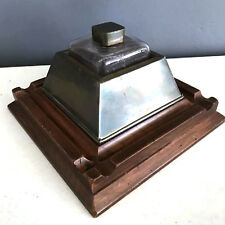 Extremely unusual Ship's Inkwell brass wood flint glass brass topper
