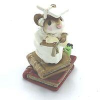Wee Forest Folk Miniature Figurine Graduate White Standing on Books M 222 1997
