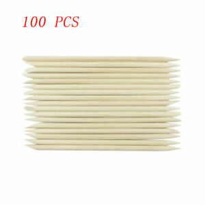 Cuticle Pusher Wood Stick for Nail Art 100Pcs Orange Manicure Tool Remover