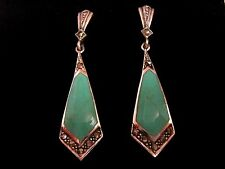 46mm Sterling Silver Turquoise Antique 1920's style Dangle Drop Earrings Boxed