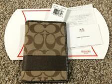 Authentic Coach Signature C Khaki/Brown Horizontal Stripe Passport Holder Case