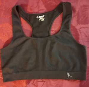 New DANSKIN Sports Yoga Bra SZ XL Black Seamless Bra Nylon/ Spandex