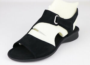 Gabor Mostic Womens Ankle Strap Sandals Open Toe Nubuck Leather Black UK4