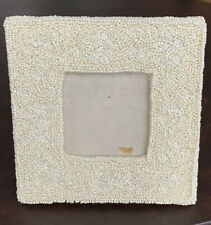 """White Pearlized Seed Bead Square 3"""" x 3"""" Picture Frame"""