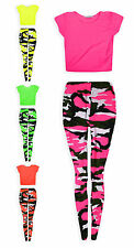 Girls Neon Crop Top And Leggings Set 2 Piece Camo Dance Set New Kids Age 7-13 Yr