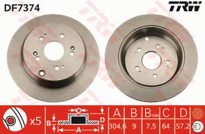 TRW Brake Rotor Rear DF7374S fits Honda CR-V 2.4 (RE), 2.4 VTEC (RD7) 118 kW
