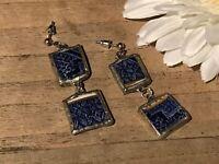 Recycled Broken Porcelain Jewelry, Blue Dangling Post Earrings