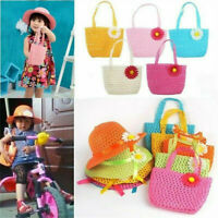 Summer Sun Hat Girls Kids Straw Cap Beach Hats Flower Decor+Handbag Set Gift