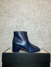 CHANEL Women Ankle Boots Navy High Neels Patent Leather Bootie Size EU 38 1/2