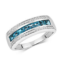 Eternity Ring London Blue Topaz and Diamond White Gold    Appraisal Certificate
