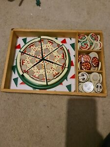 Melissa And Doug Toy Wooden Pizza With Toppings In Box