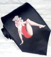 Cravatta nera da uomo, abito rosso pin-up 100% seta, stampato, alta qualità