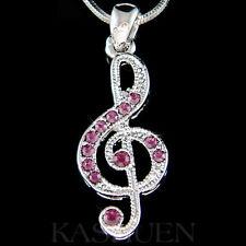 w Swarovski Crystal ~Purple TREBLE g CLEF Musical music NOTE Charm Necklace Xmas