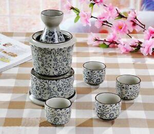 6 Piece Japanese Traditional Style Sake Set With Matching Candle Warming Base
