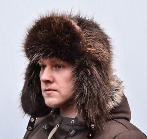 Brown Norwegian Beaver Fur Men's Russian Ushanka Trapper Aviator Hat XL sz