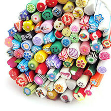 Random 50* DIY Nail Art Fimo Canes Stick Polymer Clay Stickers Tips Decoration