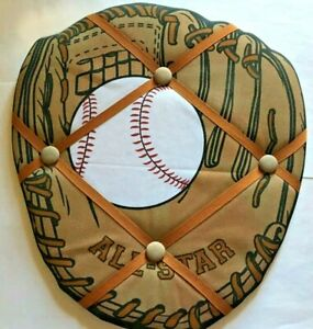 BASEBALL Fabric Memo Photo BULLETIN BOARD Memory Message Holder with wall hanger