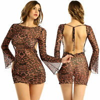 Women Sexy Backless Mesh See-through Flare Long Sleeve Dress Party Clubwear