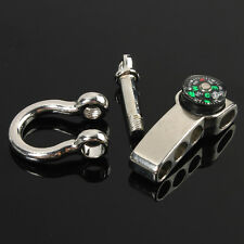 Stainless Adjustable Buckle Paracord Survival Bracelet Shackle W/ Compass SM IG