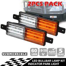 2x LED FRONT INDICATOR PARK CLEAR AMBER LIGHTS LAMPS ARB TJM BULLBAR 30V VOLT BG