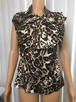 BEBE Blouse Top Sz Médium Leopard Print Silk & Spandex Ruched Front Cap Sleeve X