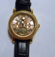 Romilly Men's Watch Automatic Pink Gold Colored Dial Yellow Gold Tone Case