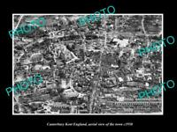 OLD 8x6 HISTORIC PHOTO OF CANTERBURY KENT ENGLAND AERIAL VIEW OF TOWN c1950 2