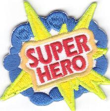 """SUPER HERO"" PATCH - COMICS - CARTOONS -TV - MOVIE/Iron On Embroidered Applique"