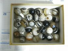 "Agate Marbles 3 Of 7/8 to 1"" Mostly Banded Bulls Eyes Natural Gemstones Vintage"