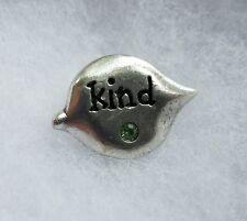 Lapel Pin Inspiration Green rhinestone Leaf Silver Tone Kind Small Tac Brooch