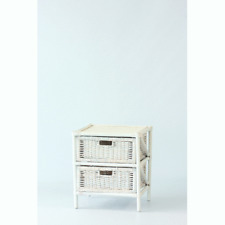 Chest of Drawers with 2 Drawers in Rattan White Cabinet Bedside Table