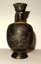 RARE LECYTHE GREC ETRURIE 700 BC BUCCHERO NERO - ANCIENT GREEK ETRUSCAN LEKYTHOS