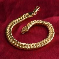 Fashion Yellow Gold Bracelet Bangle Chain Women Men Punk Jewelry