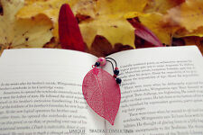 Art Metal Bookmark Red leaf with Imperial Marble pendant XMAS and All occasion