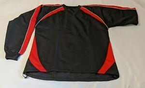 Black&Red Mens Long-Sleeve V-Neck Golf Windbreaker Sweatshirt | Mens Pullover