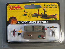 Woodland Scenics Family Fishing Ho Scale train figure boat dock pole Wds1923 New