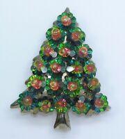 Vintage Christmas Tree Brooch Flower Cut Watermelon Rivoli Crystal Unsigned