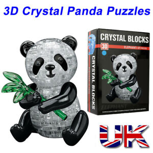 3D Cute Panda Crystal puzzle 57 jigsaw pieces with stand Box