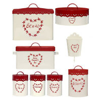 Anglaise Red Cream Kitchen Tea Coffee Sugar Bread Cake Tin Storage Canisters New
